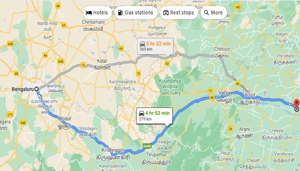 Bangalore to Kanchipuram road trip